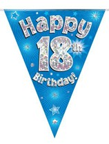 Blue Happy 18th Birthday Holographic Flag Banner