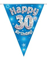 Blue Happy 30th Birthday Holographic Flag Banner
