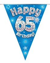 Blue Happy 65th Birthday Holographic Flag Banner