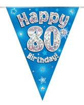 Blue Happy 80th Birthday Holographic Flag Banner