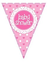 Baby Shower Pink Flag Banner 3.9M