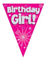 Birthday Girl Pink Holographic Flag Banner 3.9m