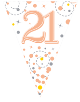 Sparkling Fizz Rose Gold & White 21st Birthday Flag Bunting
