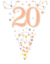Sparkling Fizz Rose Gold & White 20th Birthday Flag Bunting