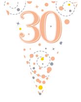 Sparkling Fizz Rose Gold & White 30th Birthday Flag Bunting