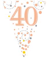 Sparkling Fizz Rose Gold & White 40th Birthday Flag Bunting