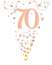 Sparkling Fizz Rose Gold & White 70th Birthday Flag Bunting