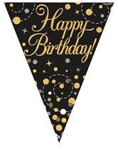 Sparkling Fizz Black & Gold Happy Birthday Flag Bunting