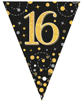 Sparkling Fizz Black & Gold 16th Birthday Flag Bunting