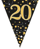 Sparkling Fizz Black & Gold 20th Birthday Flag Bunting