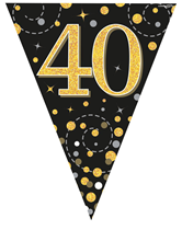 Sparkling Fizz Black & Gold 40th Birthday Flag Bunting