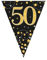 Sparkling Fizz Black & Gold 50th Birthday Flag Bunting