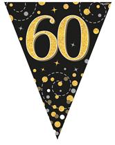 Sparkling Fizz Black & Gold 60th Birthday Flag Bunting