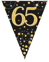 Sparkling Fizz Black & Gold 65th Birthday Flag Bunting