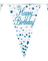 Sparkling Fizz Blue & White Happy Birthday Flag Bunting