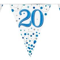 Sparkling Fizz Blue & White 20th Birthday Flag Bunting