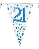 Sparkling Fizz Blue & White 21st Birthday Flag Bunting