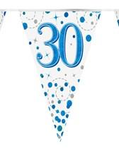 Sparkling Fizz Blue & White 30th Birthday Flag Bunting