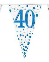 Sparkling Fizz Blue & White 40th Birthday Flag Bunting