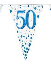 Sparkling Fizz Blue & White 50th Birthday Flag Bunting