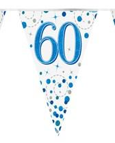 Sparkling Fizz Blue & White 60th Birthday Flag Bunting