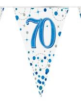 Sparkling Fizz Blue & White 70th Birthday Flag Bunting