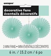 "Mint Tissue 6"" Mini Decor Fans 3pk"