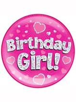 Pink Birthday Girl Holographic Jumbo Badge