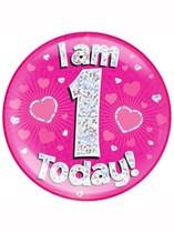 Pink First Birthday Holographic Jumbo Badge