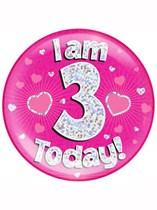 Pink 3rd Birthday Holographic Jumbo Badge