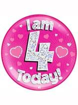 Pink 4th Birthday Holographic Jumbo Badge