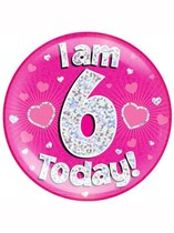 Pink 6th Birthday Holographic Jumbo Badge