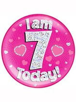 Pink 7th Birthday Holographic Jumbo Badge
