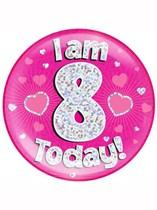 Pink 8th Birthday Holographic Jumbo Badge