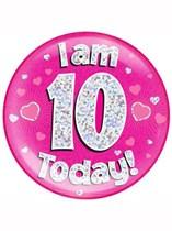 Pink 10th Birthday Holographic Jumbo Badge