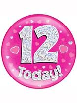 Pink 12th Birthday Holographic Jumbo Badge