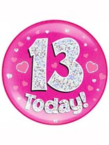Pink 13th Birthday Holographic Jumbo Badge