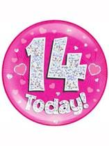 Pink 14th Birthday Holographic Jumbo Badge