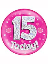 Pink 15th Birthday Holographic Jumbo Badge