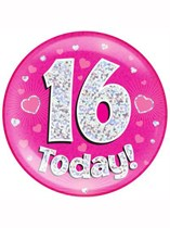 Pink 16th Birthday Holographic Jumbo Badge