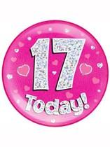 Pink 17th Birthday Holographic Jumbo Badge