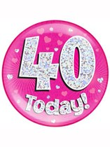 Pink 40th Birthday Holographic Jumbo Badge