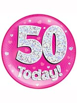 Pink 50th Birthday Holographic Jumbo Badge