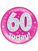 Pink 60th Birthday Holographic Jumbo Badge