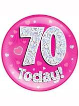 Pink 70th Birthday Holographic Jumbo Badge