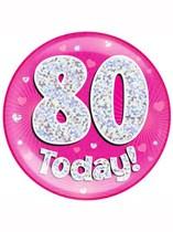 Pink 80th Birthday Holographic Jumbo Badge