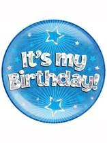 Blue It's My Birthday Holographic Jumbo Badge