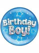 Blue Birthday Boy Holographic Jumbo Badge