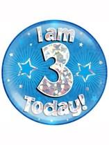 Blue 3rd Birthday Holographic Jumbo Badge