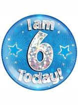 Blue 6th Birthday Holographic Jumbo Badge